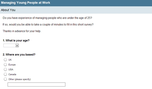 Screenshot of managing young people survey