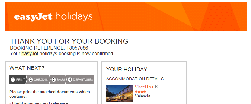 easyJet holidays booking reference T8057086