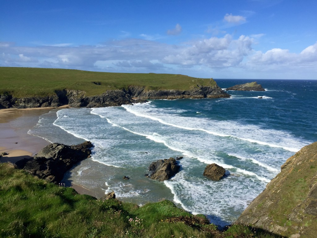 Running the South West Coast Path from Crantock to Holywell Bay, Cornwall
