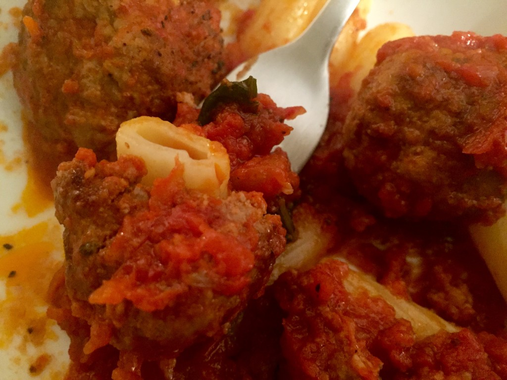 Mob-style Italian beef and pork meatballs with tomato sauce [recipe]
