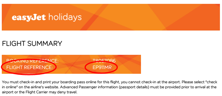 What does an Easyjet booking reference look like?