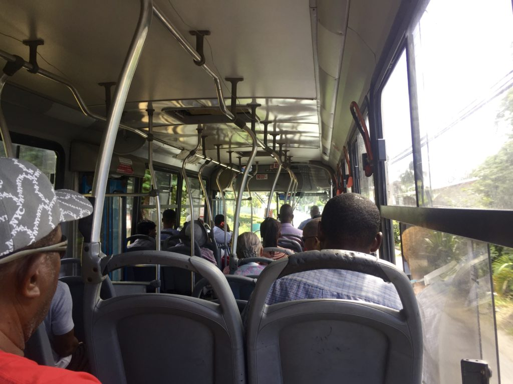 On the bus in Barbados