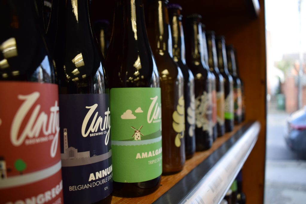 Craft beer bottles at Casks and Corks