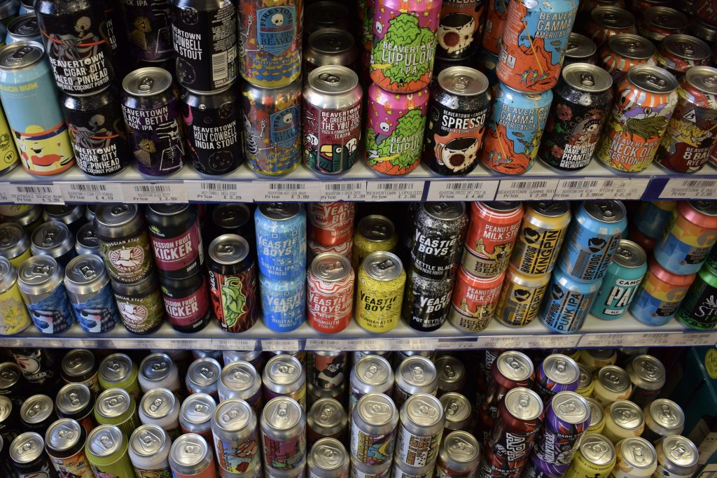 Cans of craft beer at Casks and Corks